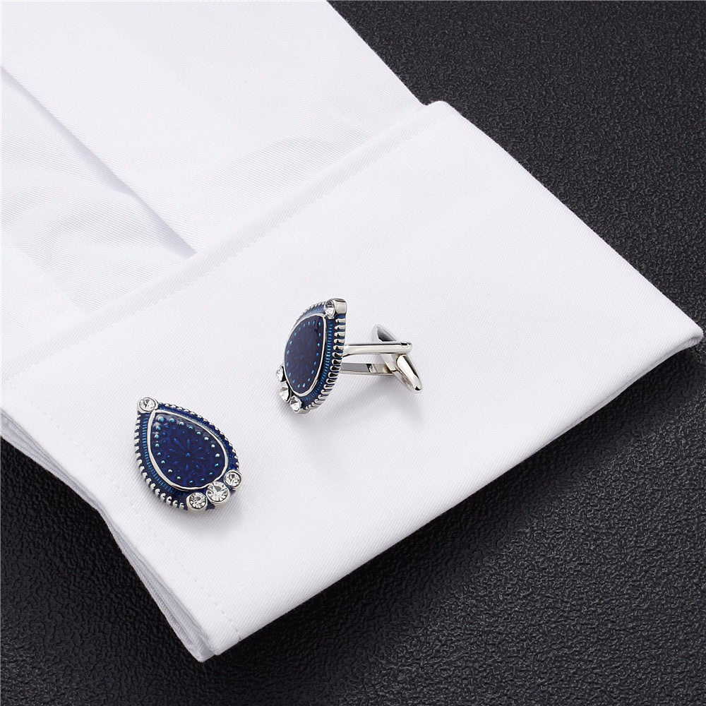 Blue Enamel, Crystal Water Drop  Cufflinks