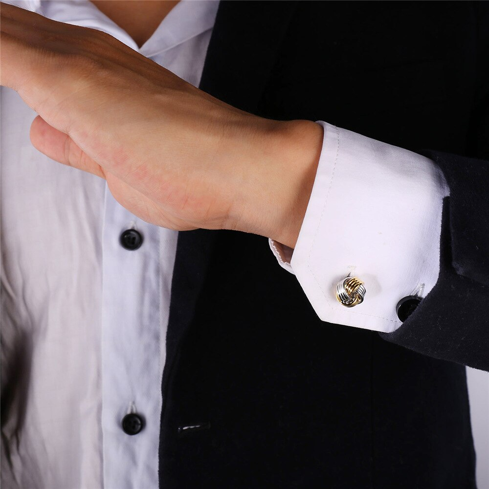 Gold and silver love knot Cufflinks