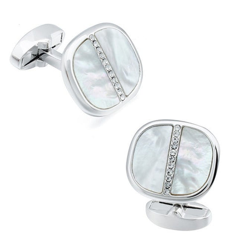 Gold oval crystal cufflinks