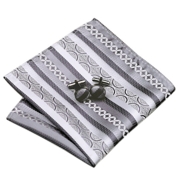 Grey and Silver Stripe Silk Tie Hanky Cufflinks Set