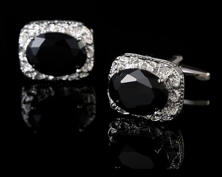 Black Zircon Silver Cufflinks