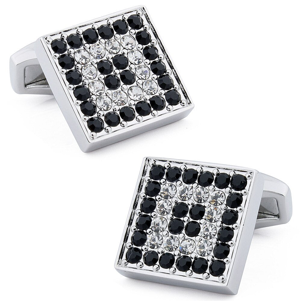 Square Black & White Crystal Cufflinks