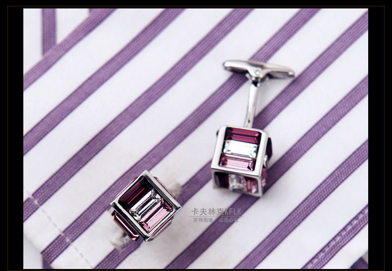 Purple Crystal square cufflinks