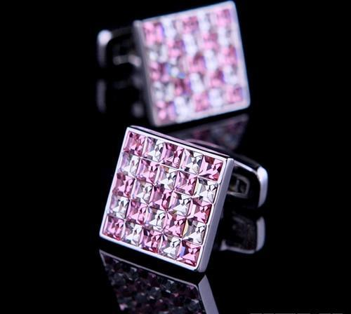 Pink square crystal cufflinks
