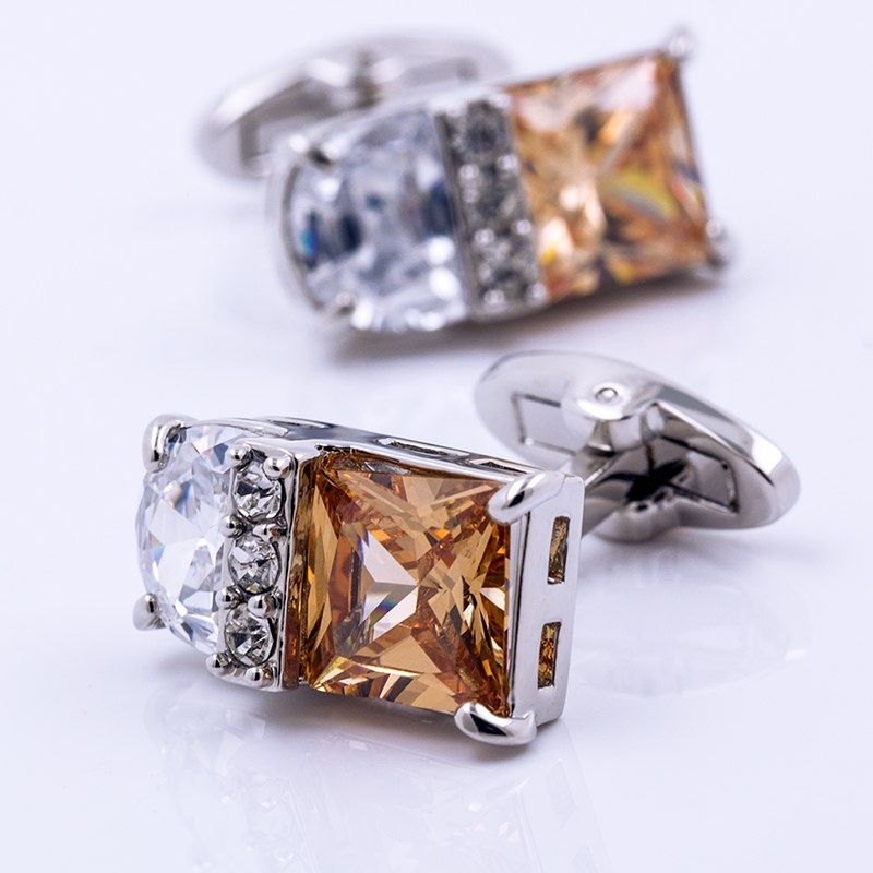 Silver yellow stone cufflinks