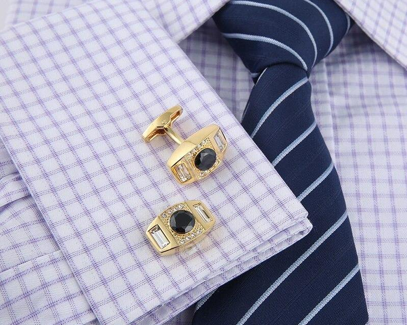 Black Crystal Gold Cufflinks