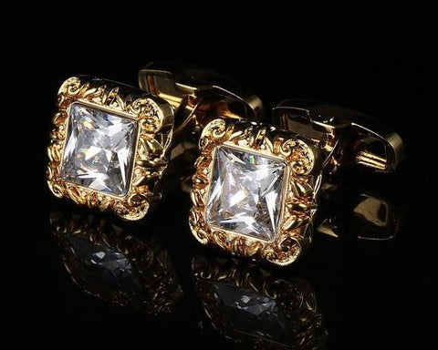 Gold Rhinestone Cufflinks