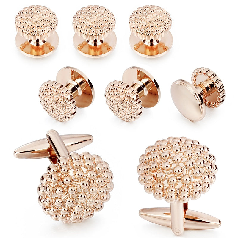 Rose Gold Flower Cufflinks Tuxedo Studs Set