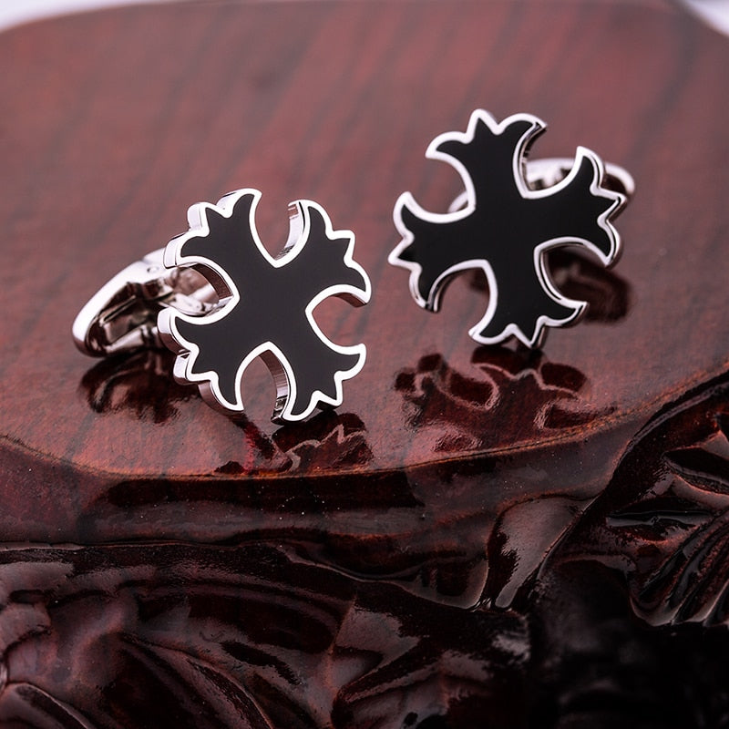 Silver black cross cufflinks