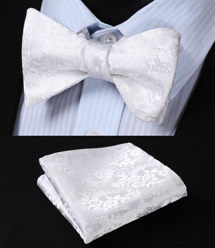 White Floral 100% Silk Bow