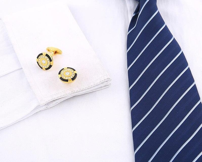 Crystal Round Cufflinks