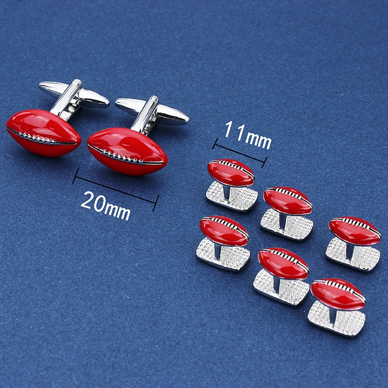 Red American Football Cufflinks and Studs Set