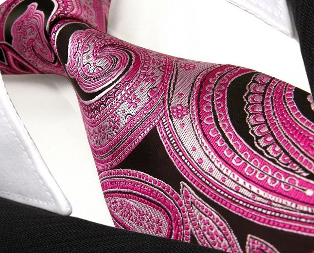 Floral Black Pink Red Black Tie, 100% Silk