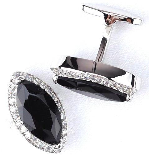 Black silver cufflinks with crystals