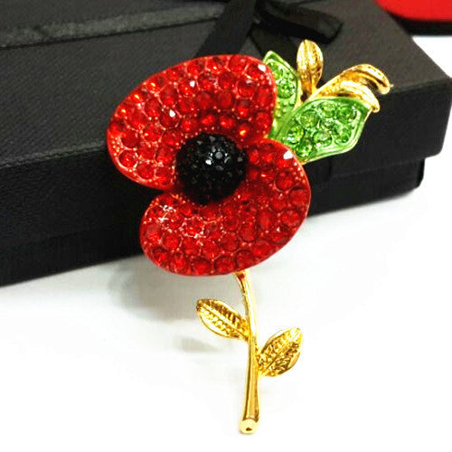 Poppy Crystal Brooch Large Gold Tone with Leaf