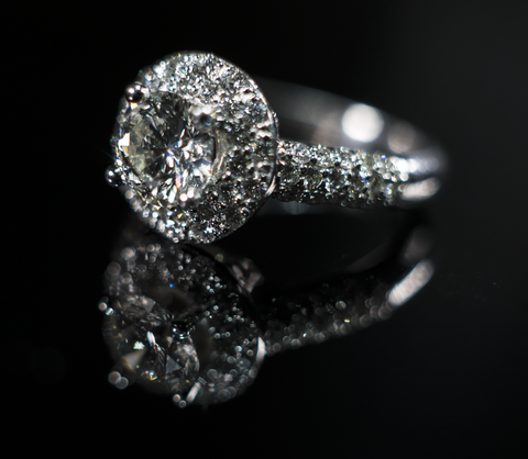 Halo Style Pave Set Engagement Ring