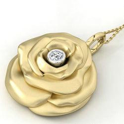 10kt Yellow Gold Rose Pendant