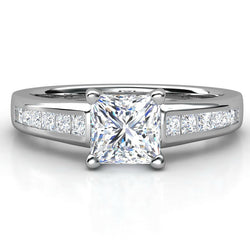 1.40CTW Princess Cut Diamond Ring 14KT White Gold