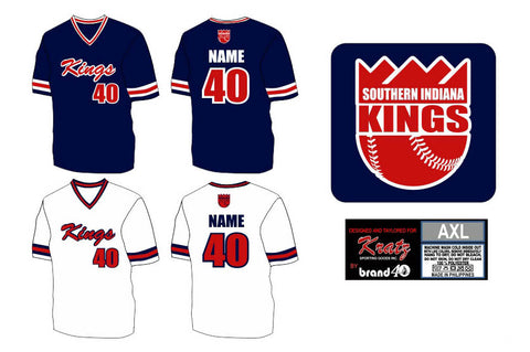 Brand40 Kratz Sporting Goods custom fully sublimated v neck baseball uniform jersey