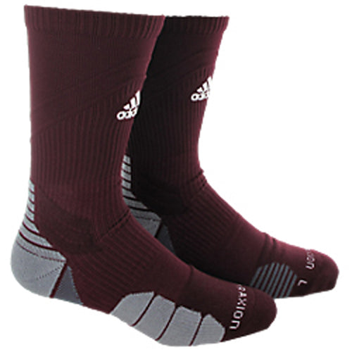 adidas traxion menace crew socks maroon white onix grey 5138491 basketball sock sale closeout