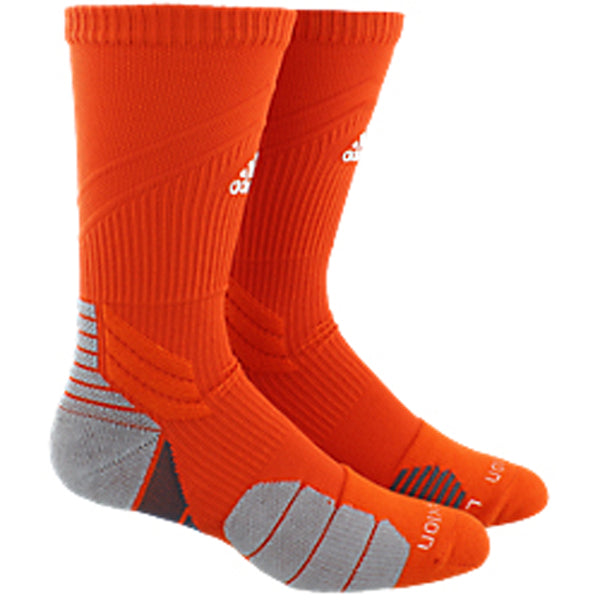 adidas traxion menace crew socks orange white onix grey 5143386 basketball sock sale closeout