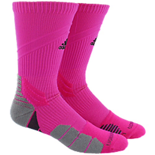 adidas traxion menace crew socks shock pink black onix grey 5141280 basketball sock sale closeout
