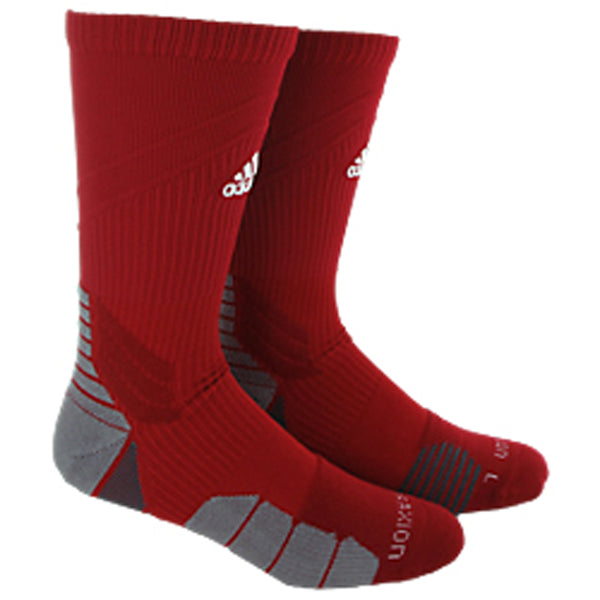 adidas traxion menace crew socks power red white onix grey 5138494 basketball sock sale closeout