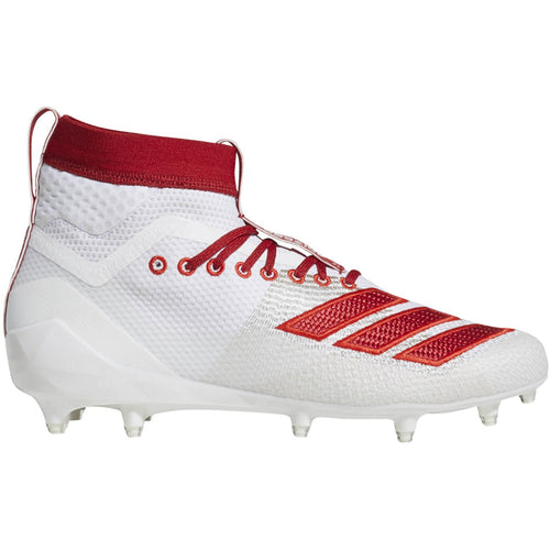 adidas adizero 5-star 8.0 sk mid football cleat white red scarlet d97031 men men men's 2019 5 star 8 sock sockfit sock fit football cleats