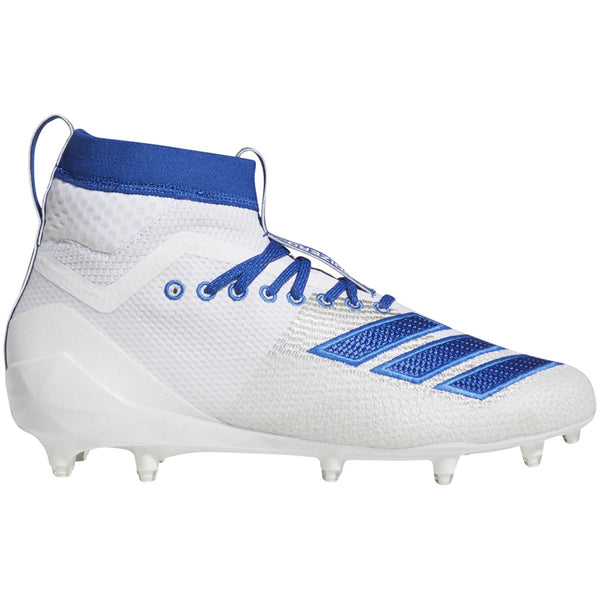 adidas adizero 5-star 8.0 sk mid football cleat white royal blue f35197 men men men's 2019 5 star 8 sock sockfit sock fit football cleats