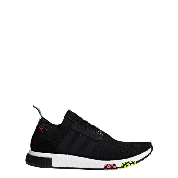 adidas nmd racer primeknit pk running shoe black solar pink yellow white cq2441 men mens sale closeout discount clearance shoes