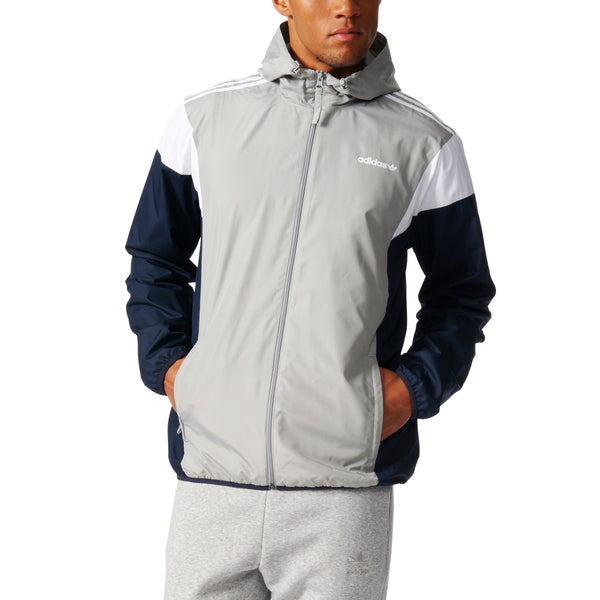 adidas originals clr84 hooded windbreaker jacket grey white navy bk0000 men mens lightweight polyester wind breaker jackets sale closeout clearance