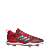 adidas poweralley 5 metal baseball cleats power red silver white b39182 men's mens power alley cleat