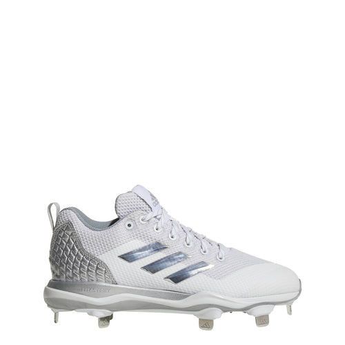 adidas poweralley 5 metal fast pitch softball cleats white silver light grey b39222 women's womens power alley cleat
