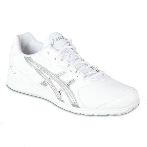 asics cheer 7 cheerleading shoes white silver q460y women's womens cheerleader tumbling tumble shoe q460y-0193
