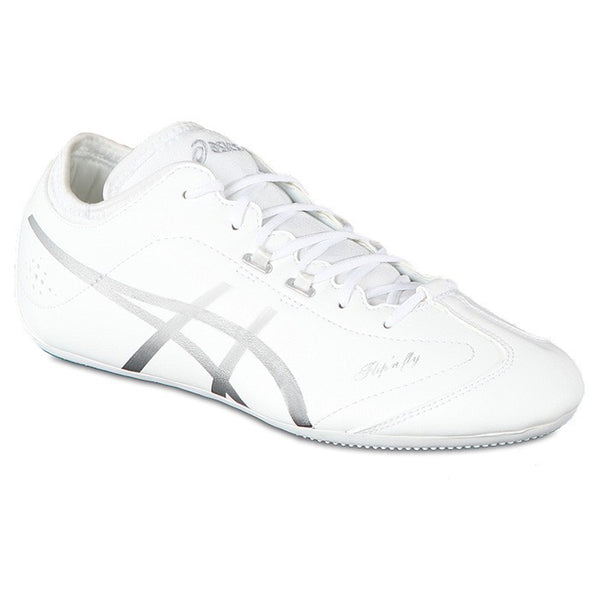 asics flip n fly cheer shoes white silver q462y women's womens cheerleading cheerleader tumbling tumble shoe q462y-0193