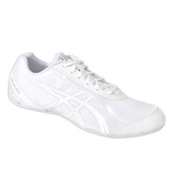 asics gel ultimate cheer cheerleading shoes white silver q653n women's womens cheerleader shoe q653n-0193