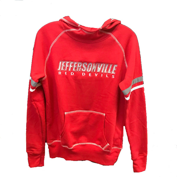 augusta ladies spry hoodie 5440 jeffersonville high school red devils indiana fan gear jhs womens hooded sweatshirt