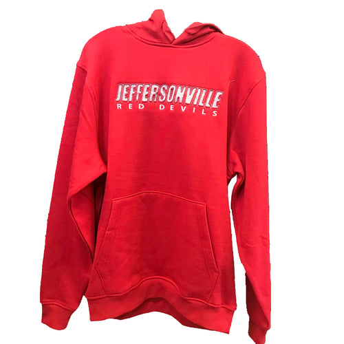 augusta mens hoodie 5414 red jeffersonville high school red devils indiana fan gear jhs adult hooded sweatshirt