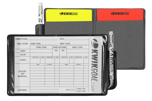 kwik goal soccer referee wallet 15b501 red yellow cards score sheet pencil