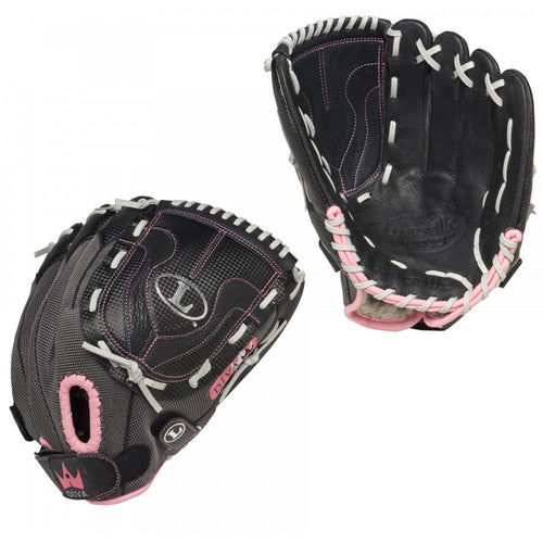 louisville slugger diva youth softball glove dv1200rh dv1200 12 inches black pink