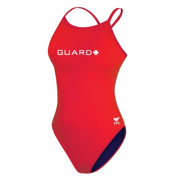 tyr women's guard crosscutfit lifeguard swimsuit red white tgul7a womens durafast lite one piece one-piece suit swimming