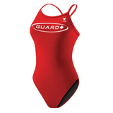 tyr women's guard diamondback lifeguard swimsuit red white dgur1a womens one piece one-piece swimming suit