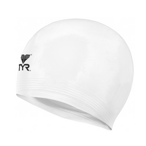tyr latex swim cap white lcl adult unisex men's mens women's womens swimming cap lcl-white