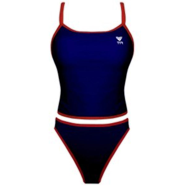 b3254eee18653 ... tyr women s reversible guard workout tankini bikini lifeguard swimsuit  red navy white trgu1a navy side women