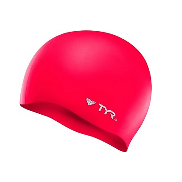 tyr silicone swim cap red scarlet lcs wrinkle free adult unisex men's mens women's womens swimming cap lcs-red