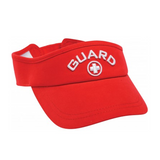 tyr standard guard visor lifeguard hat red white lhgmv adult unisex men's mens women's womens cotton adjustable swim swimming visors