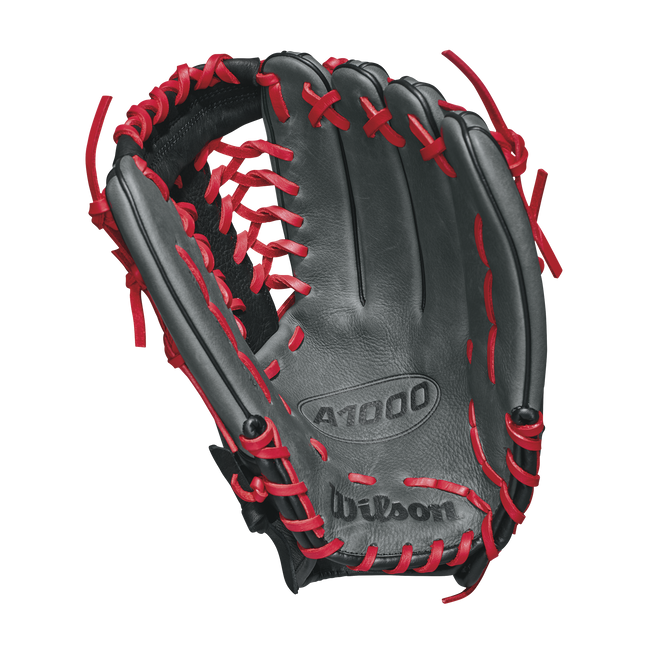 "wilson 2018 a1000 kp92 12.5"" outfield baseball glove wta10rb18kp92 grey black red"