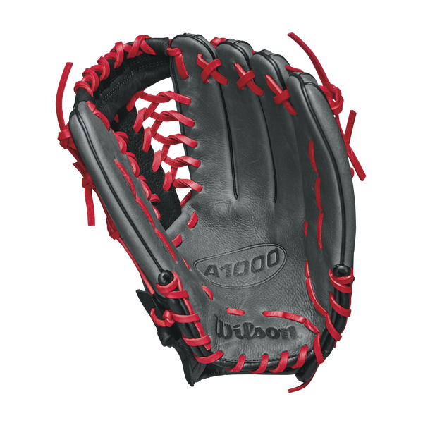 "wilson 2018 a1000 kp92 12.5"" outfield baseball glove wta10lb18kp92 grey black red"