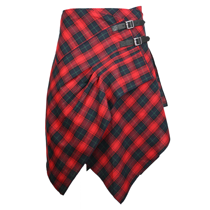 red blue lightweight tartan pocket skirt by celtic ranchwear