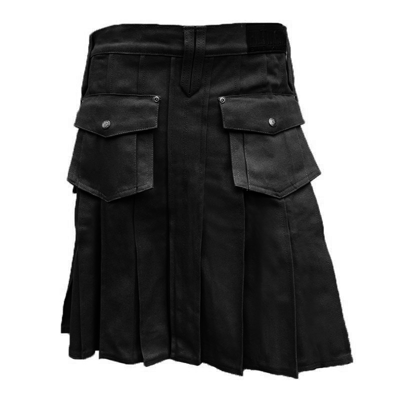Slim Fit Black Pub Kilt